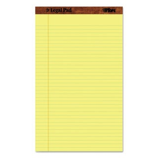 TOPS The Legal Pad Ruled Perf Pad Legal/Wide 8 1/2 x 14 Canary 50 Sheets Dozen