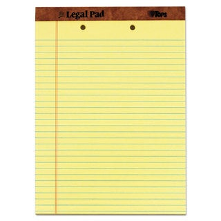 TOPS The Legal Pad Ruled Perf Pad Legal/Wide 8 1/2 x 11 3/4 Canary 50 Sheets