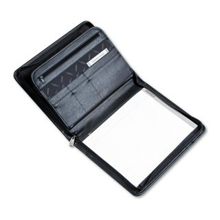 Samsill Professional Zippered Pad Holder Pockets/Slots Writing Pad Black