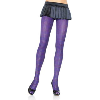 Leg Avenue Women's Opaque Paper-print Plaid Tights