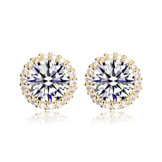Collette Z C.Z. Rhodium Plated Round Earrings