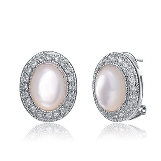 Collette Z Sterling Silver with Rhodium Plated Pink Oval Faux Opal with Clear Round Cubic Zirconia Earrings