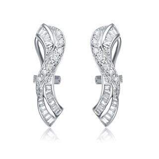 Collette Z Sterling Silver Cubic Zirconia Ribbon Earrings