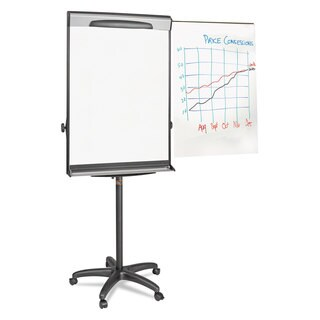 MasterVision Tripod Extension Bar Magnetic Dry-Erase Easel 69 inches to 78 inches High Black/Silver