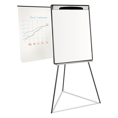MasterVision Magnetic Gold Ultra Dry Erase Tripod Easel with Ext Arms 32-inch to 72-inch Black/Silver