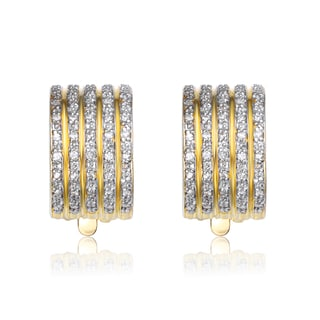 Collette Z Gold Overlay Cubic Zirconia Striped Earrings