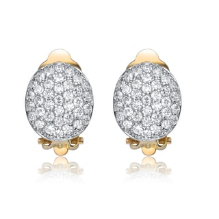 Collette Z Gold Overlay Cubic Zirconia Crowned Egg Earrings