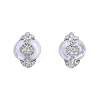 Collette Z C.Z. Sterling Silver Rhodium Plated Round White Mother Of Pearl Omega Earrings