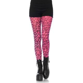 Leg Avenue Women's Neon Pink Leopard Print Opaque Tights