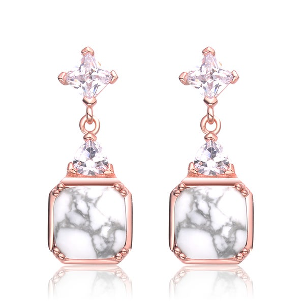 Shop Collette Z Rose Gold Overlay How Lite Cross Earrings - White - On Sale - Free Shipping ...