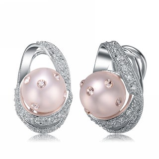 Collette Z C.Z. Sterling Silver Rhodium Plated Pearl Earrings