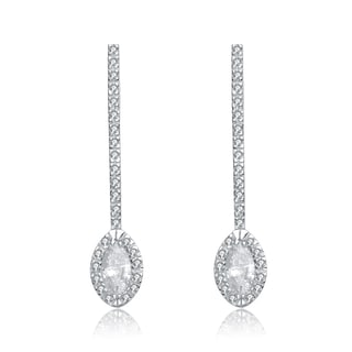 Collette Z Sterling Silver Cubic Zirconia Staight Line Earrings