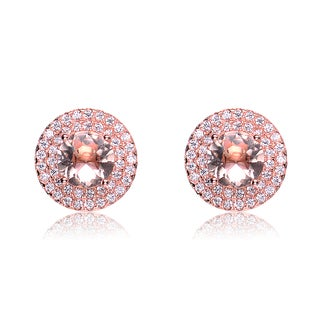 Collette Z C.Z. Morganite Sterling Silver Rose Plated Round Stud Earrings