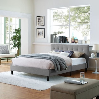 Link to Porch & Den Lucille Upholstered Queen Platform Bed Similar Items in Bedroom Furniture