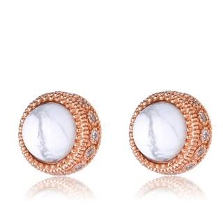 Collette Z Rose Gold Overlay How Lite Thick Framed Earrings - White
