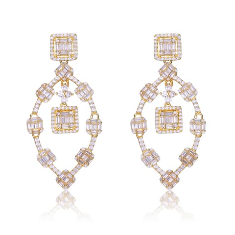 Collette Z Sterling Silver with Gold Plated Clear Baguette and Round Cubic Zirconia Cluster Drop Earrings