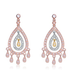 Collette Z Sterling Silver Multi Cubic Zirconia Chandelier Earrings
