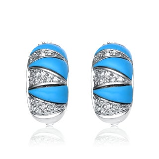 Collette Z Sterling Silver Cubic Zirconia Blue Claw Earrings