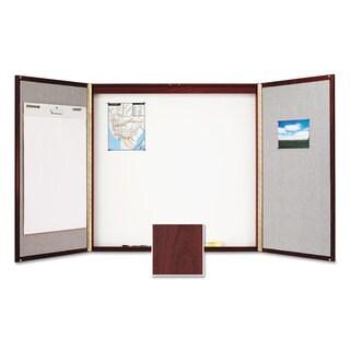 Quartet Cabinet Fabric/Porcelain-on-Steel 48 x 48 x 2 Beige/White Mahogany Frame
