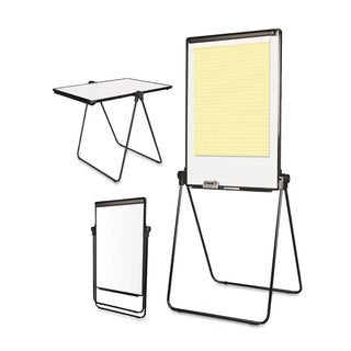 MasterVision Folds-to-a-Table Melamine Easel 28 1/2 x 37 1/2 White Steel/Laminate