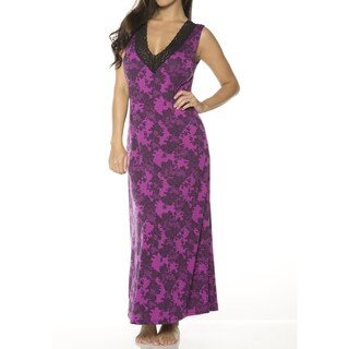 Rhonda Shear Women's Printed V-neck Long Gown with Shelf Bra (More options available)