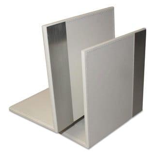 Artistic Architect Line Bookends 6 3/4 x 6 3/4 x 5 White/Silver