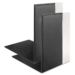 Artistic Architect Line Bookends 6 3/4 x 6 3/4 x 5 Black/Silver