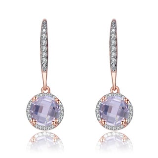 Collette Z Rose Gold Overlay White Cubic Zirconia Drop Earrings