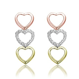 Collette Z C.Z. Sterling Silver Tri Color Heart Shape Drop Earrings