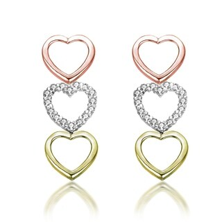 Collette Z C.Z. Sterling Silver Tri Color Heart Shape Drop Earrings - White