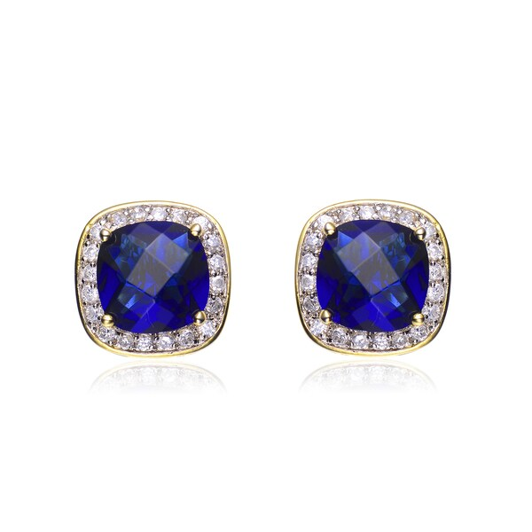 Collette Z Sterling Silver Blue Cubic Zirconia Earrings