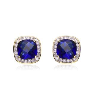 Collette Z Sterling Silver Blue Cubic Zirconia Earrings