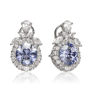Collette Z Sterling Silver Clear and blue Cubic Zirconia Detailed Round Earrings