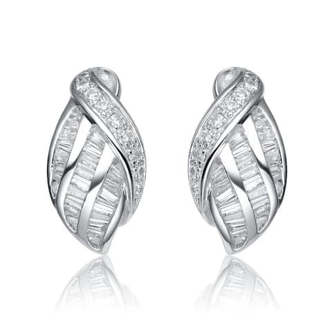 Collette Z Sterling Silver Cubic Zirconia Weaved Earrings - White