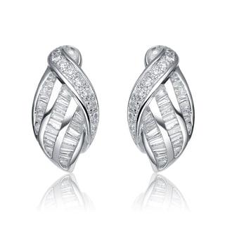 Collette Z Sterling Silver Cubic Zirconia Weaved Earrings