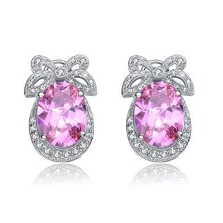 Collette Z Sterling Silver Pink Cubic Zirconia Bow Earrings