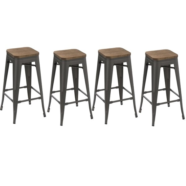 30 Inch Stackable Antique Distressed Gunmetal Steel Counter Bar Stool With Wood Seat