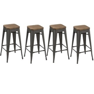 30-inch Industrial Stackable Antique Distressed Gunmetal Steel Counter Bar Stool with wood seat (Set of 4 Barstools)