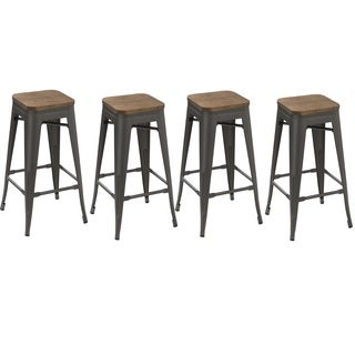 30 Inch Industrial Stackable Antique Distressed Gunmetal Steel Counter Bar  Stool With Wood Seat (