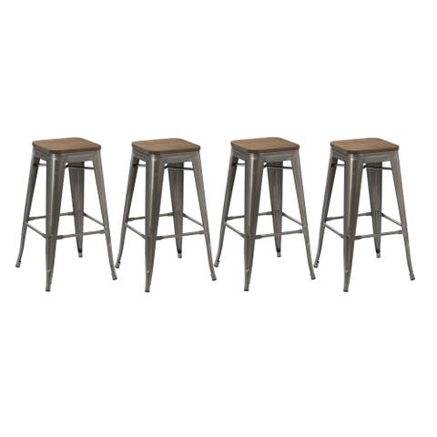 The Gray Barn Horseshoe Stackable Barstools (Set of 4)