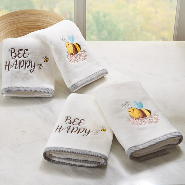 HipStyle Buzzin' Bee White Embroidered Cotton Hand Towel (set of 4)