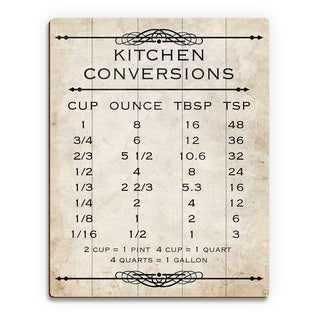 Kitchen Conversions Tan Wall Art Print on Wood