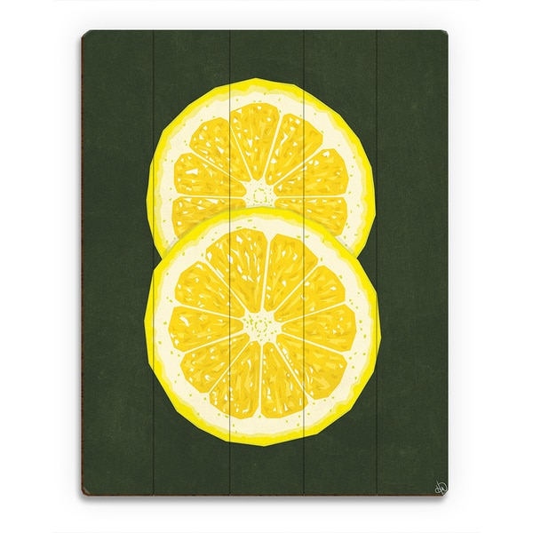 Shop Simple Sliced Lemon Green Wall Art Print on Wood - On Sale ...