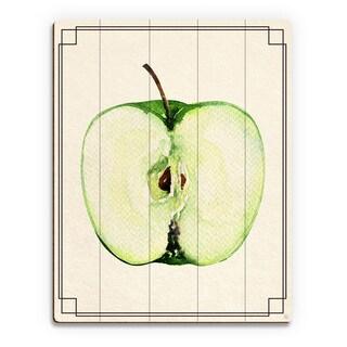 Apple Half Wall Art Print on Wood