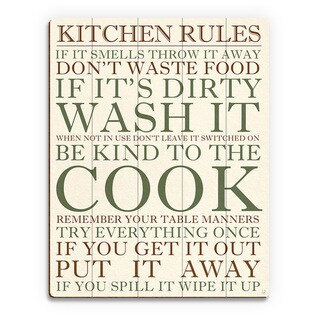 Kitchen Rules Green Wall Art Print on Wood