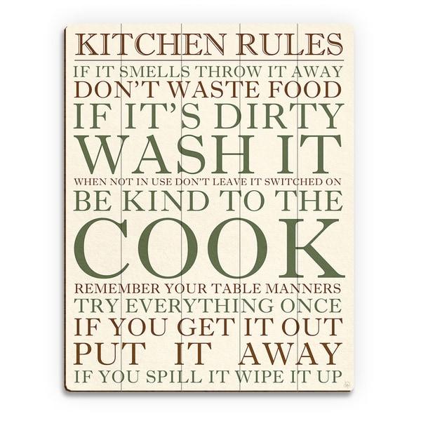 Kitchen Rules Green Wall Art Print On Wood