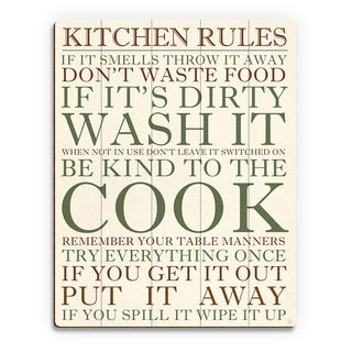 Kitchen Rules Green Wall Art Print on Wood (More options available)