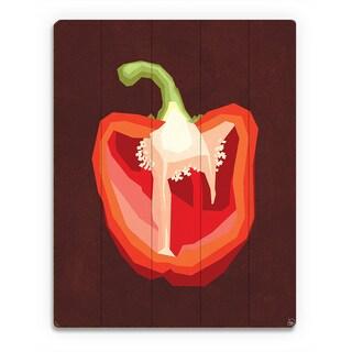 Simple Sliced Pepper Red Wall Art Print on Wood