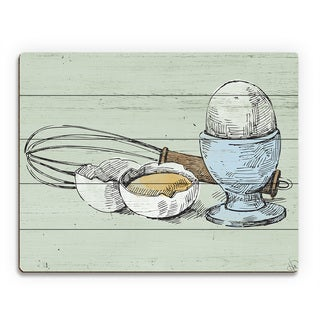 Whisk and Eggs on Green Wall Art Print on Wood
