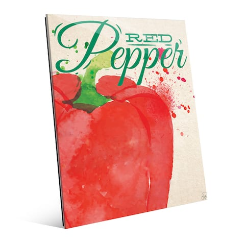 Large Red Pepper Green Wall Art Print on Glass